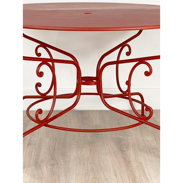 French Large Mid-Century Vintage French Red Garden Table For Sale - Image 3 of 7