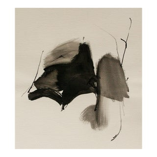 Vintage Abstract Black and White Watercolor Painting For Sale