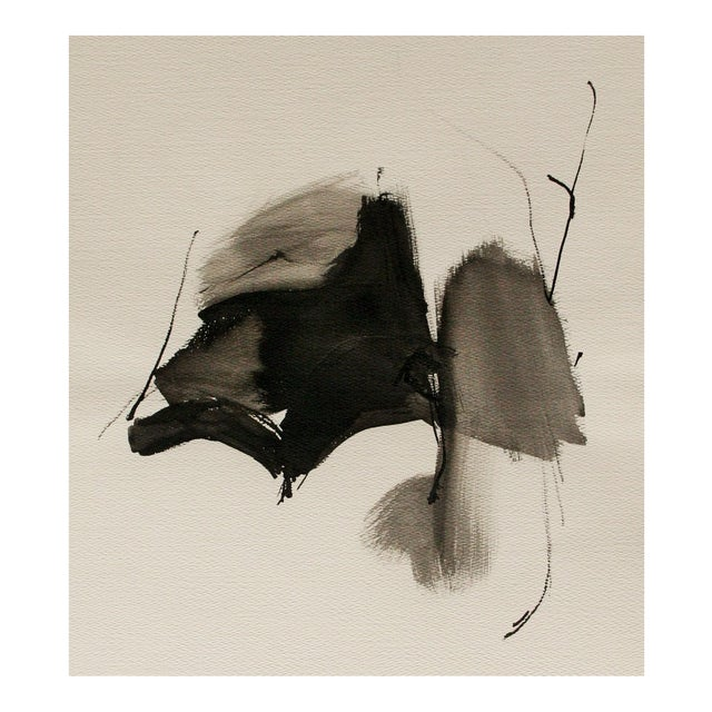 Vintage Abstract Black and White Watercolor Painting - Image 1 of 6