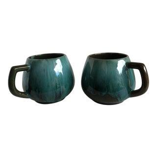 Vintage Blue Drip Glaze Pottery Mugs - A Pair