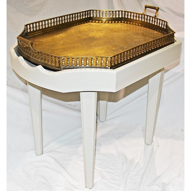 Newly painted, custom made, solid wood coffee table fitted to accommodate a removable, engraved solid brass, footed and...