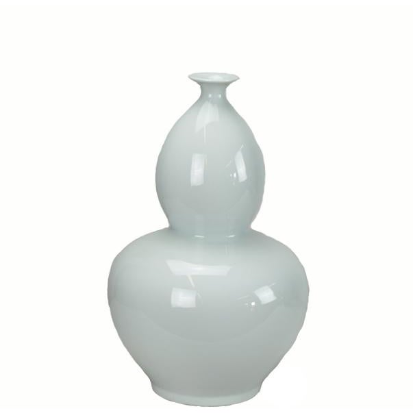 Asian Modern White Bottle Gourd Porcelain Vase For Sale - Image 4 of 4
