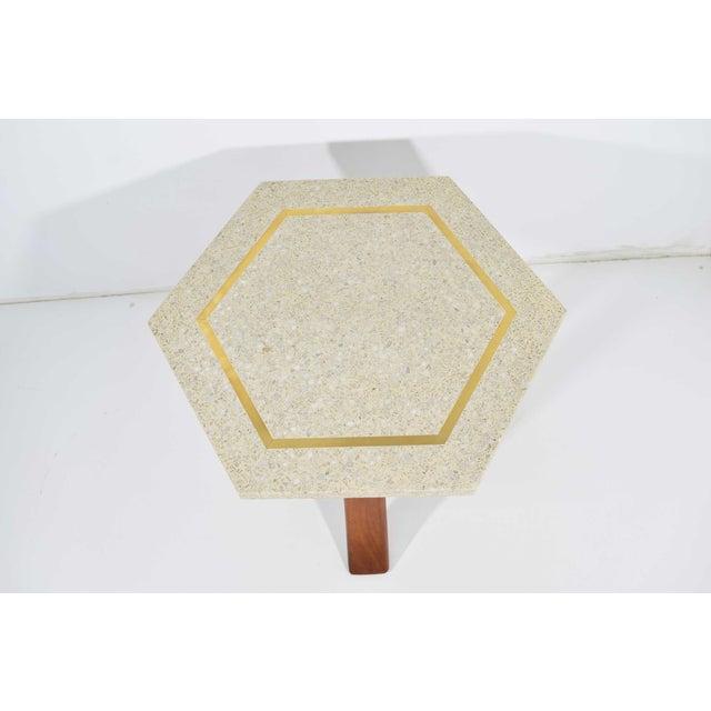 Wood Harvey Probber Hexagonal Terrazzo Side Table For Sale - Image 7 of 9