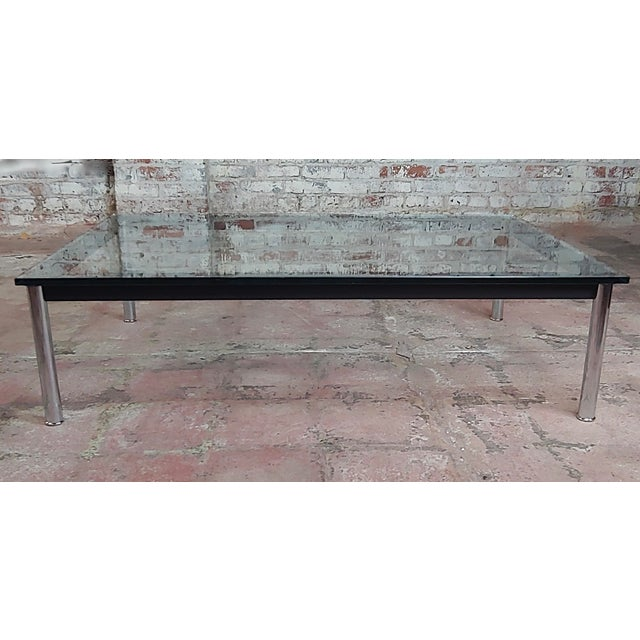 Vintage Le Corbusier for Cassina rectangular coffee table with a glass top. A beautiful piece that will add to your décor!