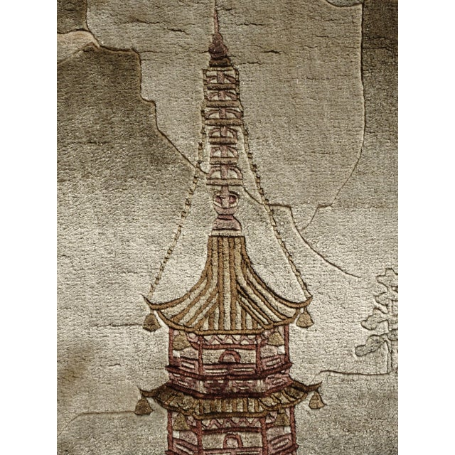 Gray Vintage Chinese Wool Wall Hanging Rug Tapestry 'Temple W Lake and Boats' For Sale - Image 8 of 13