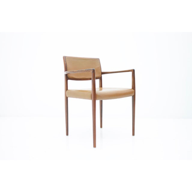 Mid-Century Modern Scandinavian Armchairs in Rosewood and Brown Leather 1960s For Sale - Image 3 of 9