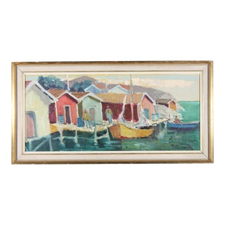 Fishing Boats in Sweden Coastal Landscape For Sale