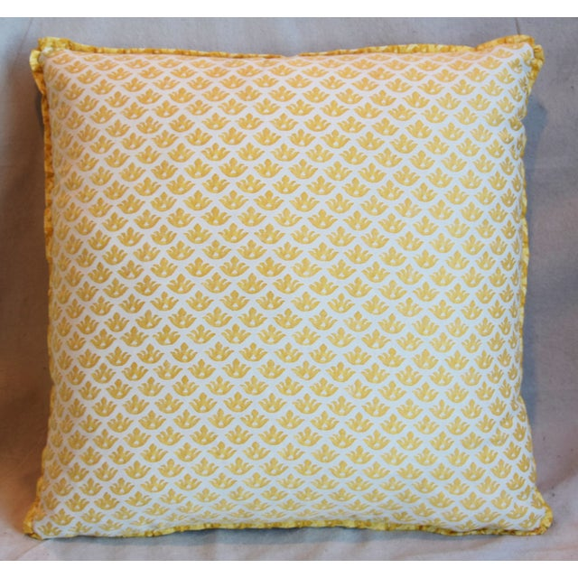 """French Italian Mariano Fortuny Canestrelli Feather/Down Pillows 20"""" Square - Pair For Sale - Image 3 of 13"""