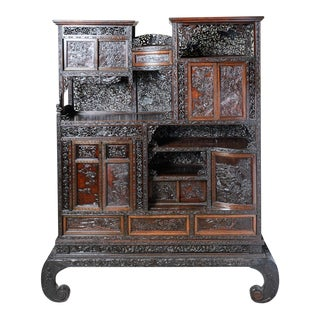 Decor-Asian Carved Oriental Cabinet For Sale
