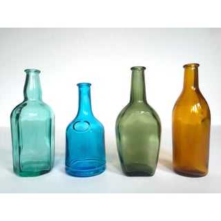 Vintage Mid Century Modern Japan Small Multi Colored Glass Bottles Collection - Set of 4 Preview