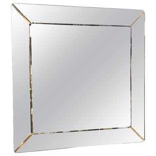 Square Mirror by Cristal Art, Italy, Circa 1955 For Sale