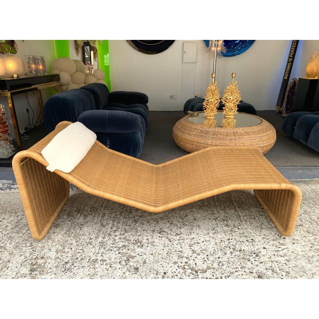Metal 1970s Italian Rattan Chaise Longue Lounger Chair P3 by Tito Agnoli For Sale - Image 7 of 11