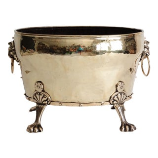 Large English Antique Brass Jardiniere For Sale