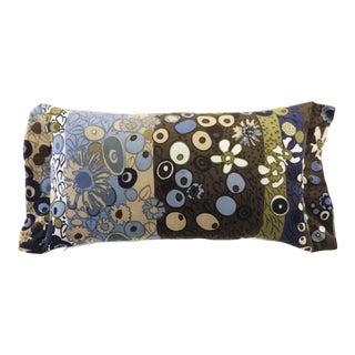 """Jack Lenor Larsen-Don Wight """"Primavera"""" Blue & Brown Velvet Print Lumbar Pillow For Sale"""