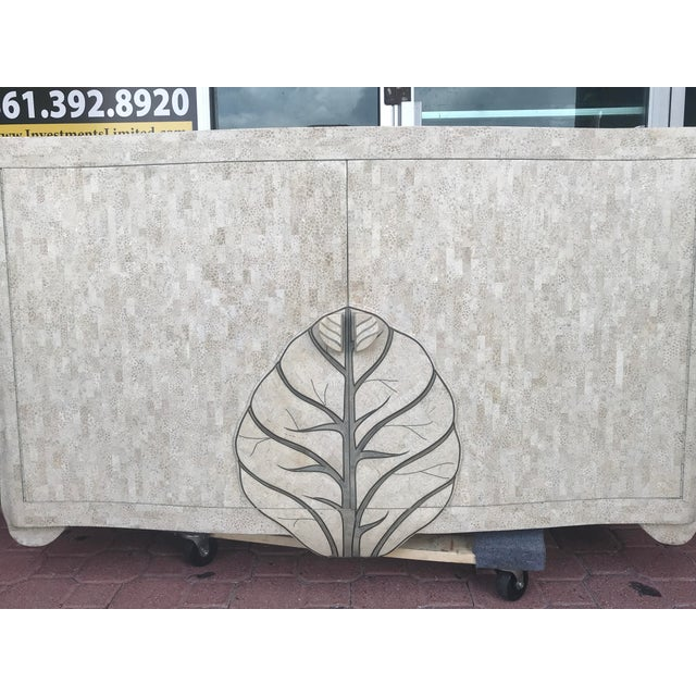 Metal Maitland Smith Tessellated Stone Credenza For Sale - Image 7 of 12