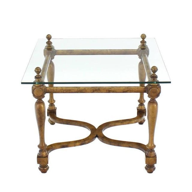 Early 20th Century Figural Base Glass Top Side End Table For Sale - Image 5 of 7