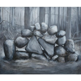"""Sculptural Stone Wall"", Contemporary Large Painting by Stephen Remick For Sale"