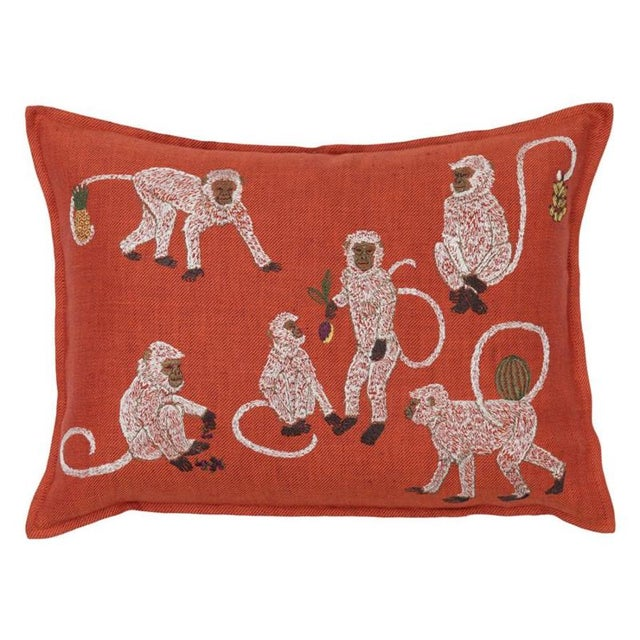 French Monkey Business Vermilion Pillow For Sale - Image 3 of 3