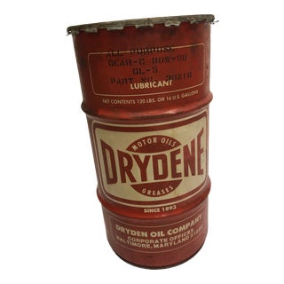 Vintage Industrial Red Metal Barrel - Great Advertising for Man Cave For Sale