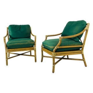 Vintage Pair of McGuire Armchairs For Sale