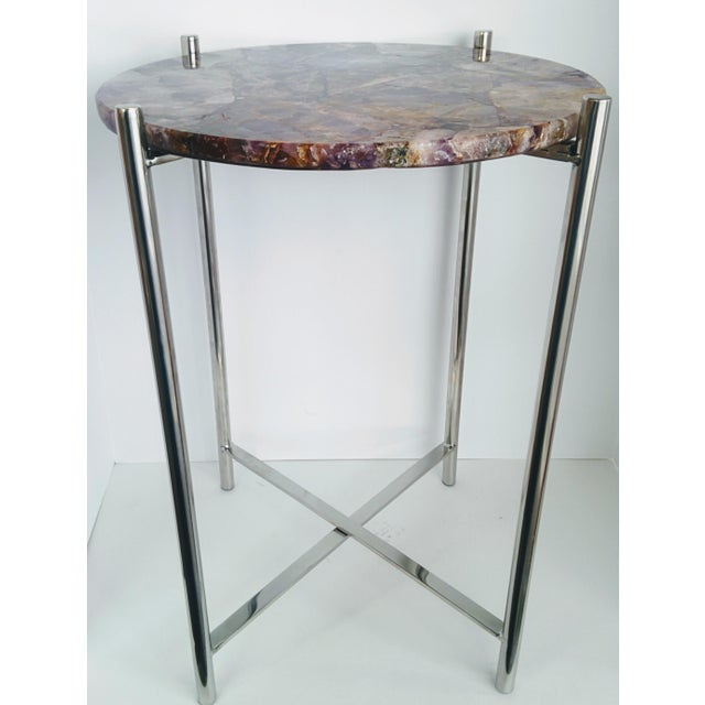 Lavender Amethyst & Chrome Side Table - Image 5 of 9