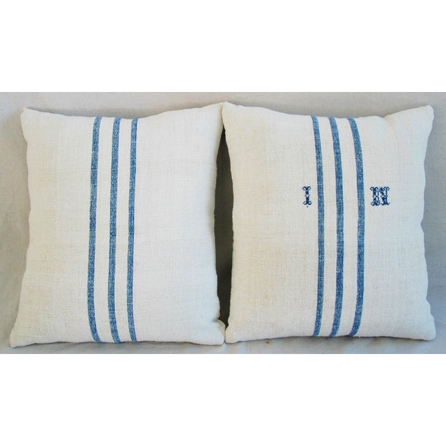 French Grain Sack Down & Feather Pillows - Pair - Image 4 of 11