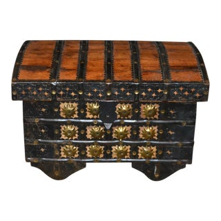 Hammered Metal Overlay Small Wood Chest