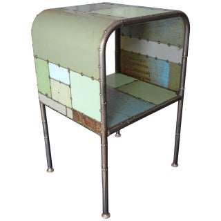 Locally-Sourced Reclaimed Steel Bedside Table For Sale