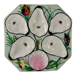 Gutherz Limoges Porcelain Hand Painted Mint Green Oyster Plate For Sale