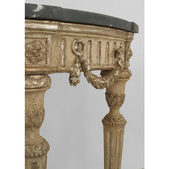Pair of 18th Century Italian Neoclassical Silver Gilt Demilune Consoles For Sale - Image 4 of 6
