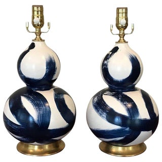 20th Century Abstrac Blue and White Ceramic Double Gourd Shape Lamps - a Pair
