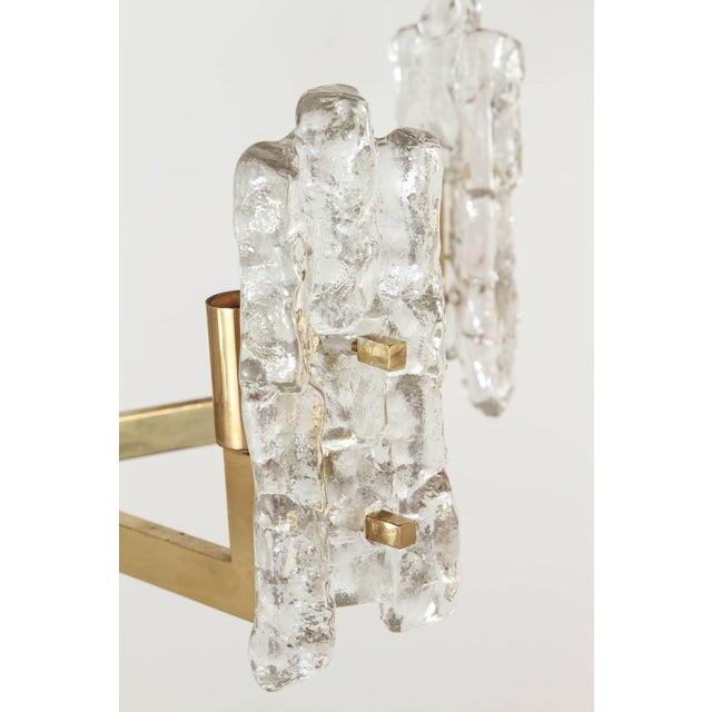 Italian Glass Pendant With Kalmar Textured Glass Shades For Sale - Image 9 of 10