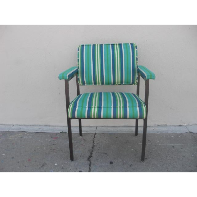Mid-Century Modern Reupholstered Striped Steelcase Armchair For Sale - Image 9 of 9