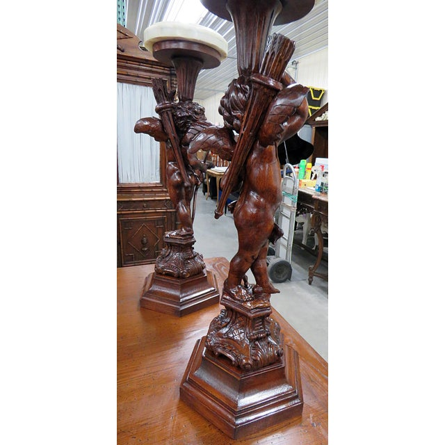 Pair of Renaissance Style Putti Pedestals For Sale In Philadelphia - Image 6 of 7