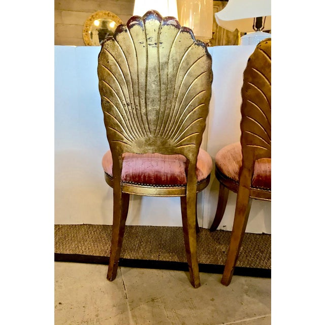 English Traditional Pair Gold Leafed Shell-Form Side Chairs For Sale - Image 3 of 8