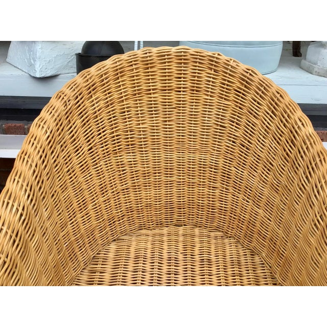 1970s Moderne Rattan Barrel Chairs - a Pair For Sale - Image 5 of 11