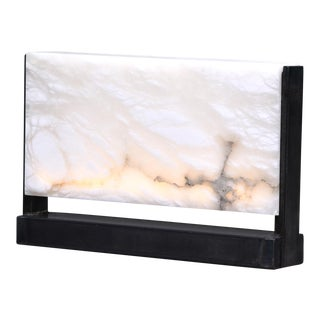 Hand Carved Italian Alabaster Rectangular Led Table Lamp For Sale