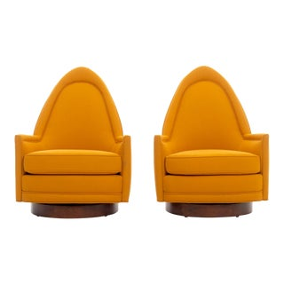 1950s Mid-Century Modern Milo Baughman Orange Lounge Chairs - a Pair