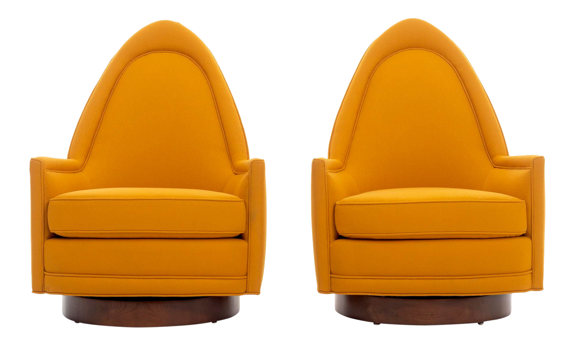 1950s Mid Century Modern Milo Baughman Orange Lounge Chairs   A Pair
