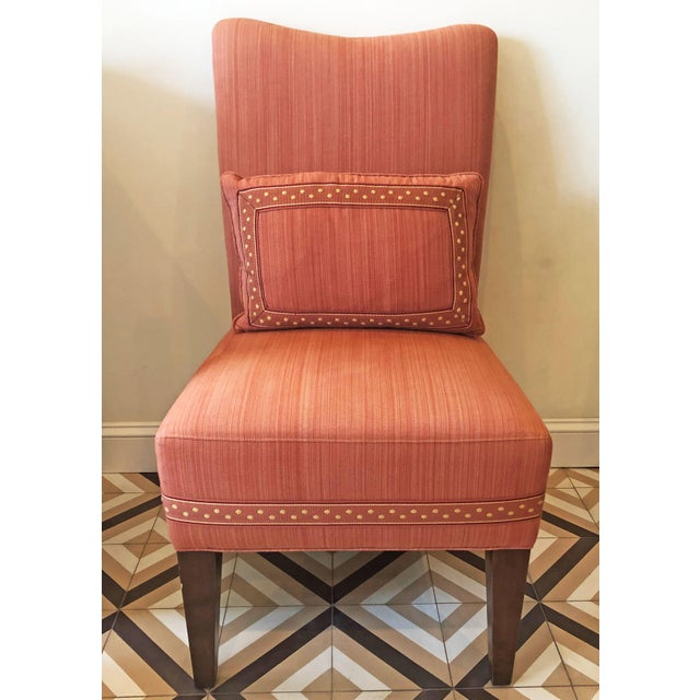 Modern Striae Cotton Side Chair For Sale - Image 10 of 10