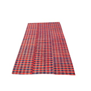 Vintage Turkish Modern Red & Blue Handmade Plaid Striped Flatweave Textile Rug - 5′8″ × 9′9″ For Sale
