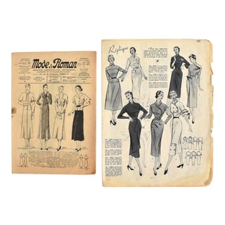 Vintage French Fashion Illustrations - a Pair For Sale
