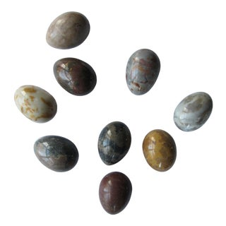 Vintage Marble Eggs Natural Tones- 9 Pieces For Sale
