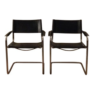 1980s Vintage Mart Stam Black Cavalier Chairs- A Pair For Sale