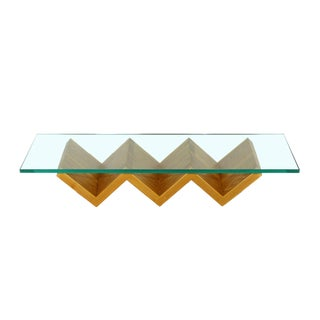 1980s Contemporary Modern Zig Zag Wood & Glass Hanging Wall Shelf For Sale