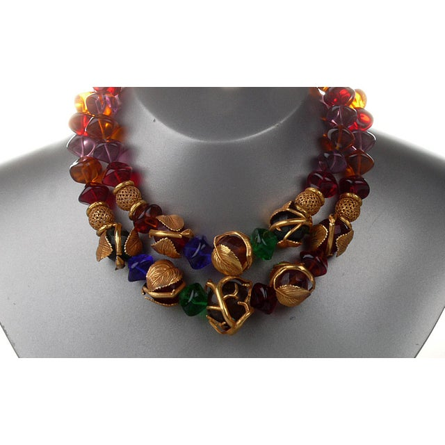 1950s French Art Deco Philippe Ferrandis Gilt Colorful Necklace Paris For Sale - Image 5 of 6