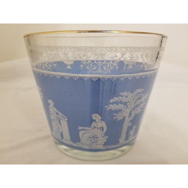 1950s Vintage 1950s Jeanette Glass Co Blue Wedgewood Hellenic Grecian Ice Bucket For Sale - Image 5 of 8