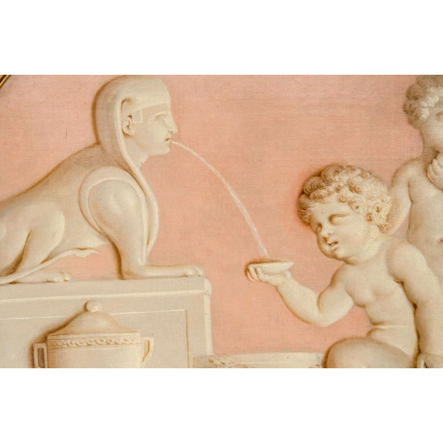 Wood Pair of Neoclassic Grisailles Paintings For Sale - Image 7 of 9