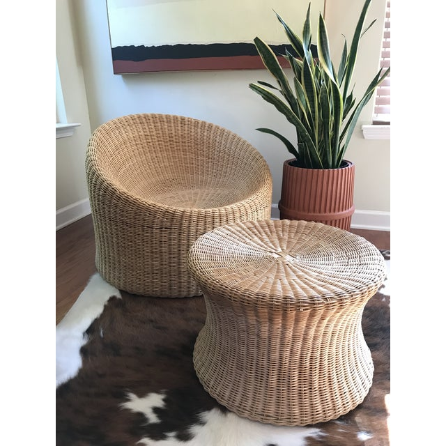 1960's mid century modern Eero Aarnio wicker lounger chair and stool. This version was designed in Finland, made in Hong...