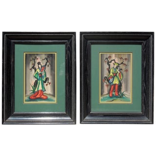Original Vintage 1950s Chinoiserie Figure Paintings Signed Ling - a Pair For Sale